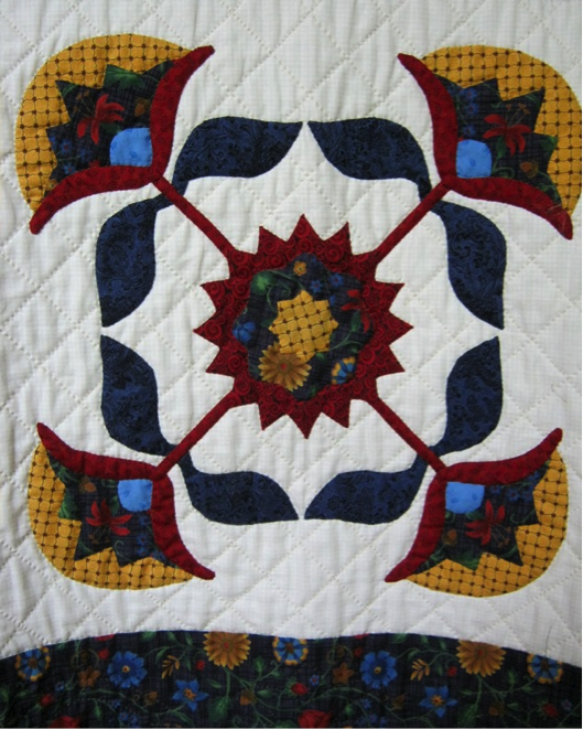 floral applique quilt block