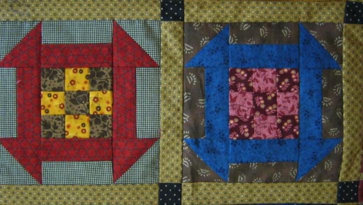 contrasting quilt blocks