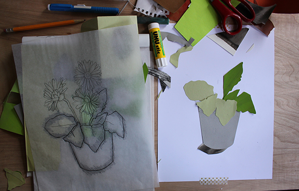 Leaves and sketch