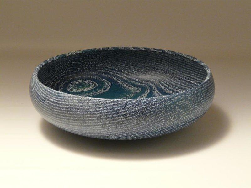 Blue Woodturned Bowl