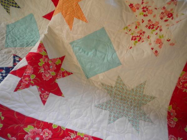 Bright Mixed-Print Big Star Quilt