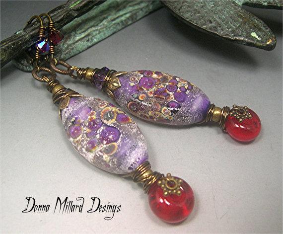 Earrings by Donna Millard using lampwork glass beads by Donna Millard
