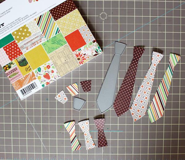 Die cut ties from patterned paper
