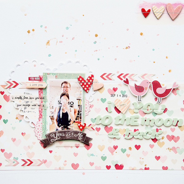 Scrapbook Page With Heart Cutouts