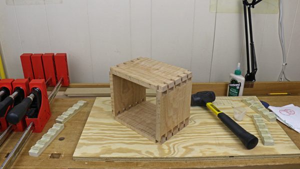 getting ready to glue dovetail joints