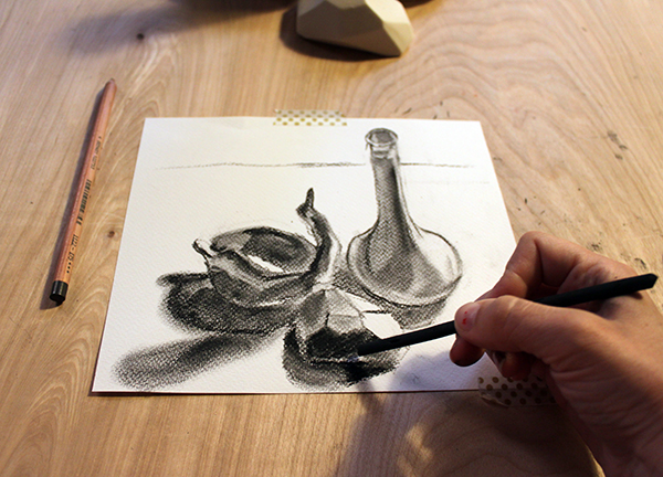 Drawing in vine charcoal shadow