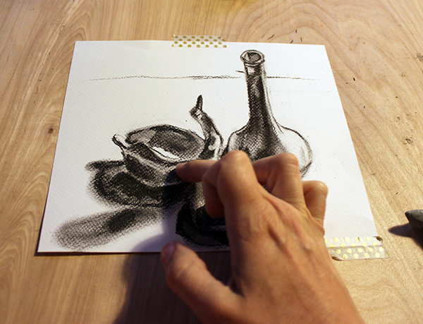 Blending in charcoal