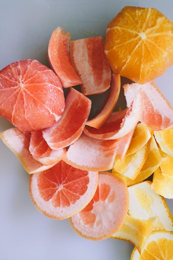 freshly peeled citrus fruits