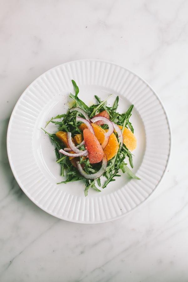 Savory arugula + grapefruit fruit salad