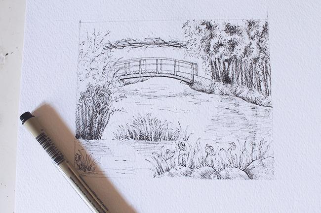 finished ink sketch