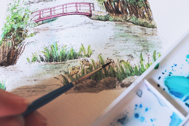 Painting a picturesque pond in mixed media