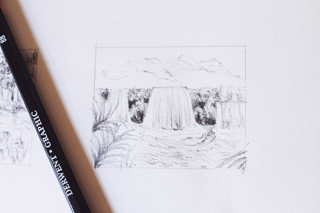 thumbnail sketch of waterfall
