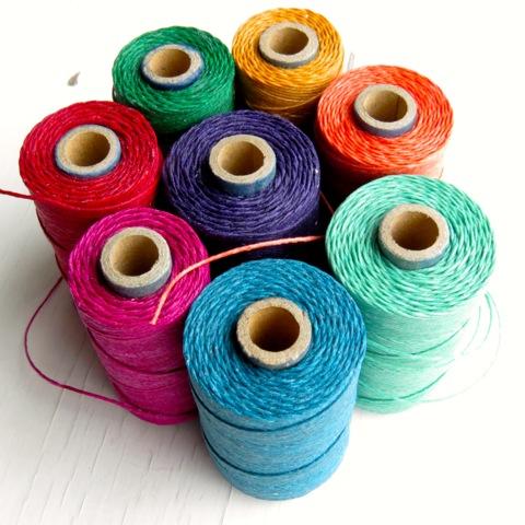 Colourful spools of Irish waxed linen cord