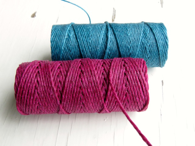 Teal 4ply and Magenta 7ply Irish waxed linen cord