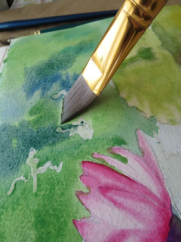 Greens and blues in watercolor lily painting