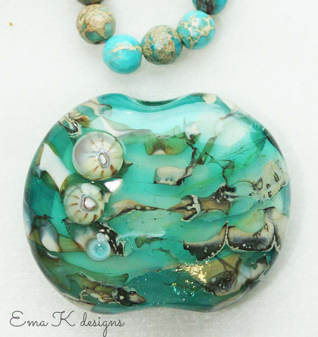 Unstrung art bead by Ema Kilroy with jasper rounds