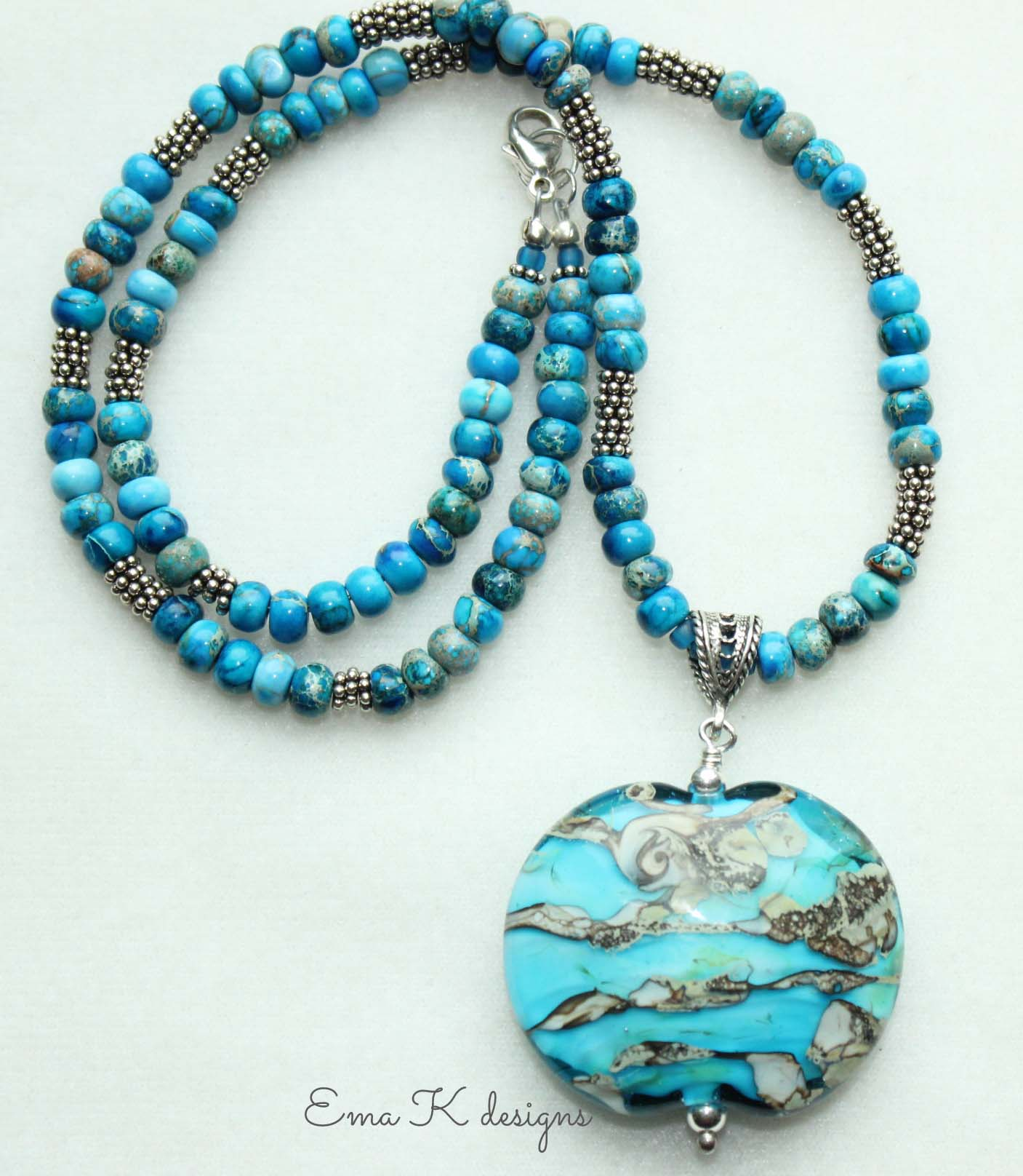 Beaded Necklace with Art Bead Focal