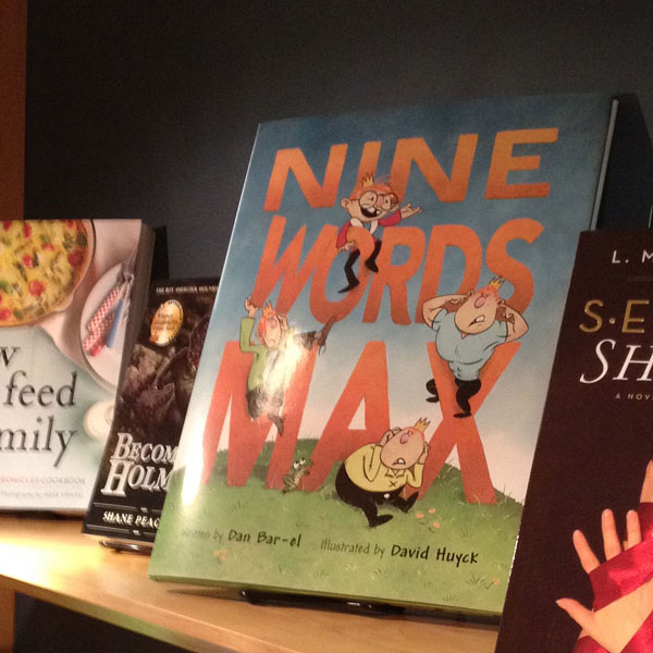 Picture book, Nine Words Max, on a shelf