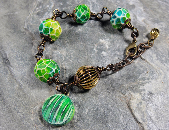 Bracelet by Patti Vanderbloemen with polymer clay beads by Second Surg