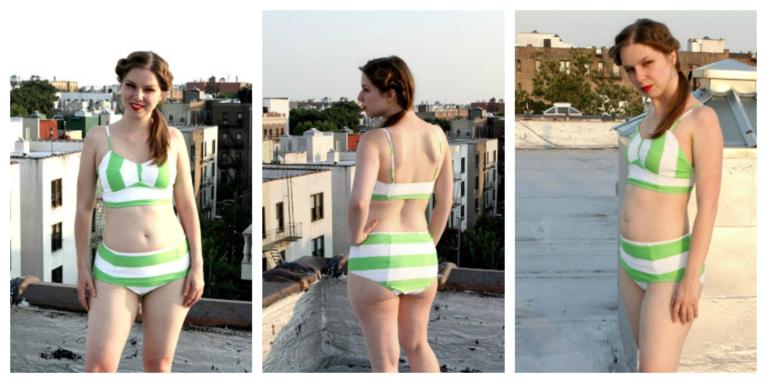 The ginger bodysuit green and white striped swimsuit