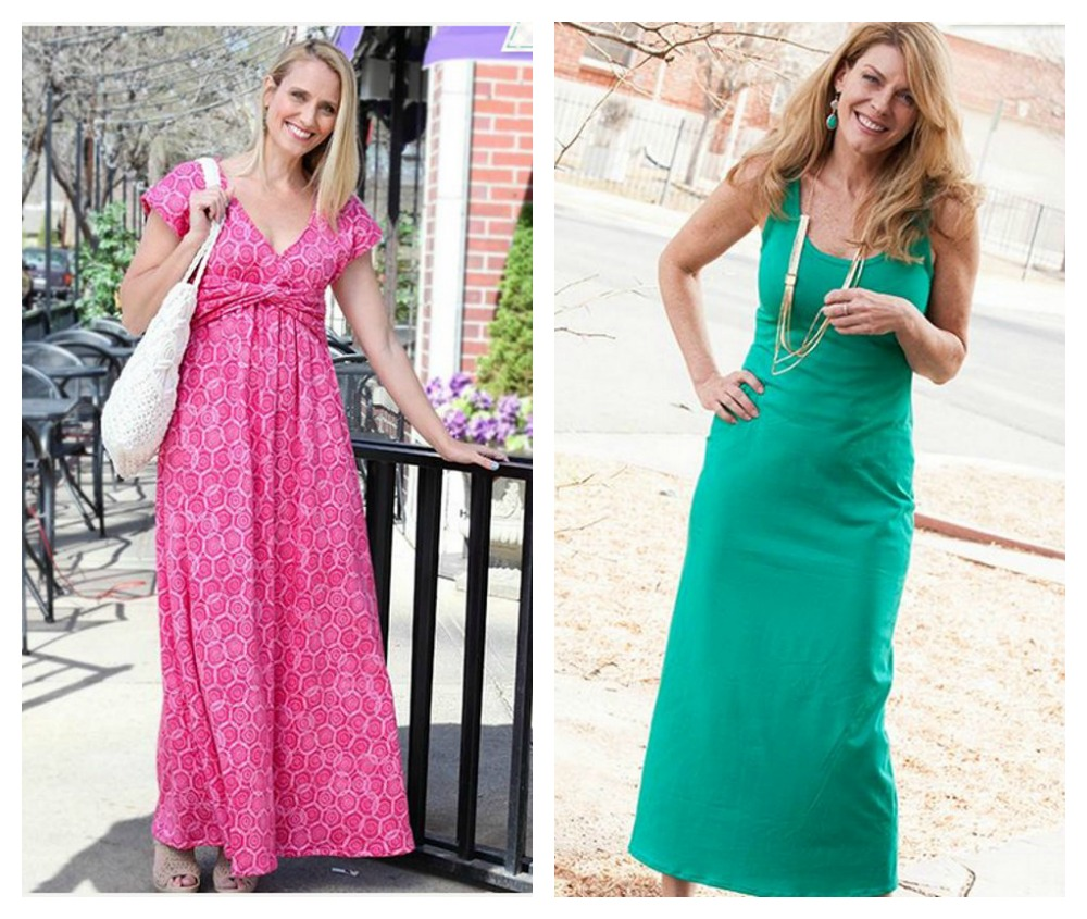 Maxi dress pattern for knit fabrics