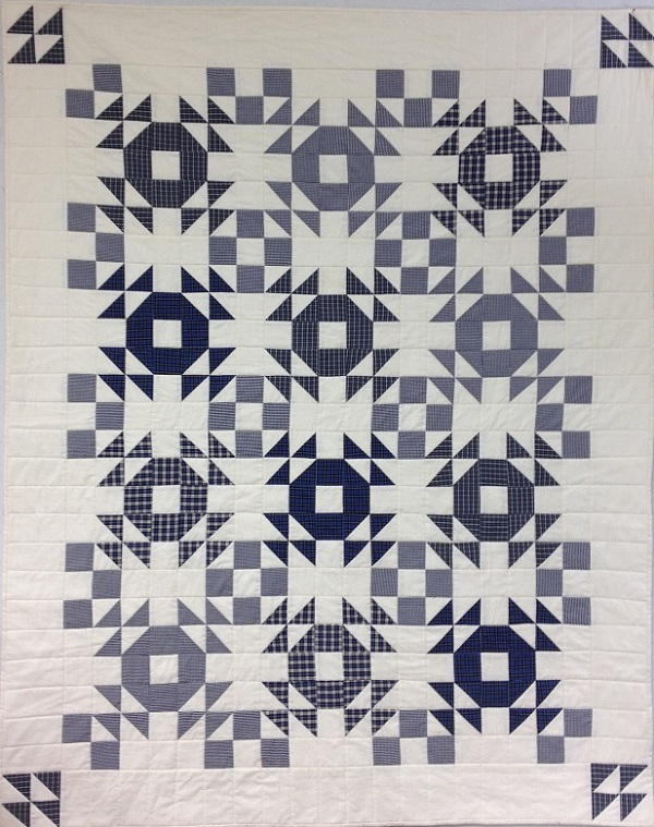 blue and white quilt made from plaids
