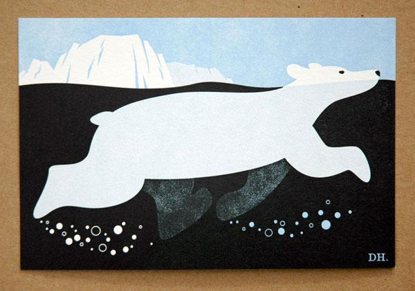 Polar Bear letterpress print