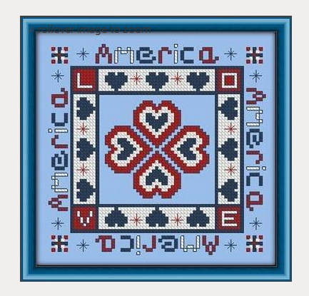 Patriotic Hearts Embroidery Pattern