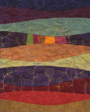 Landscape Quilt using curved piecing and freeform quilting