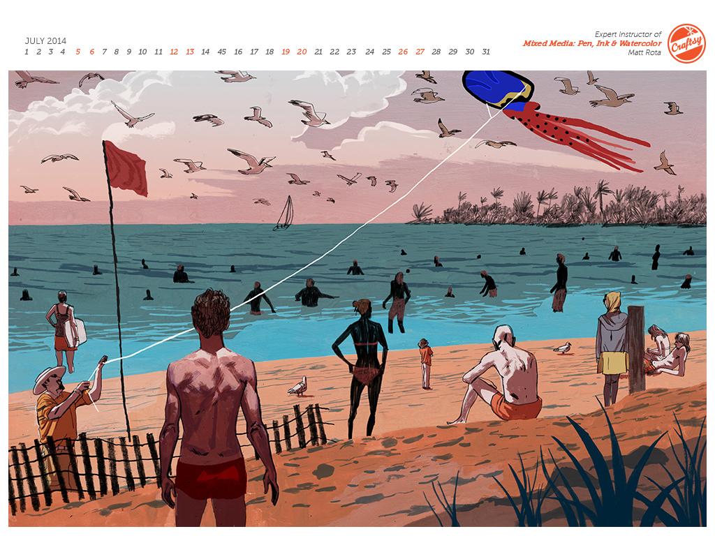 Summer by Matt Rota, July Desktop Calendar