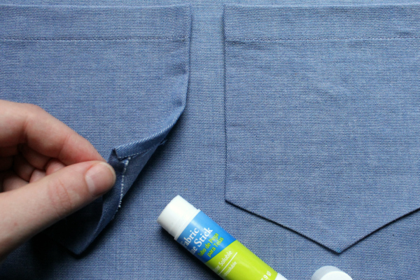 Twin Pockets Sewn to Garment after Securing with Fabric Glue