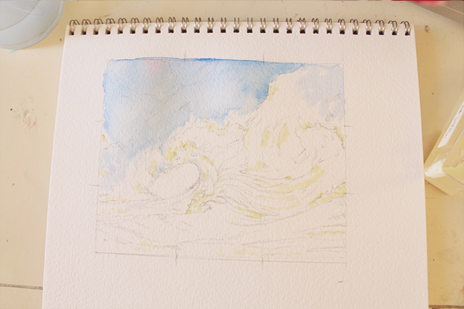 watercolor painting first color wash