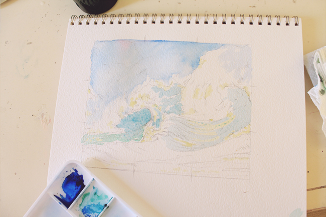 first wash watercolor crashing waves