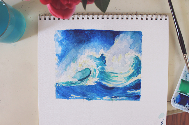 watercolor crashing waves wip