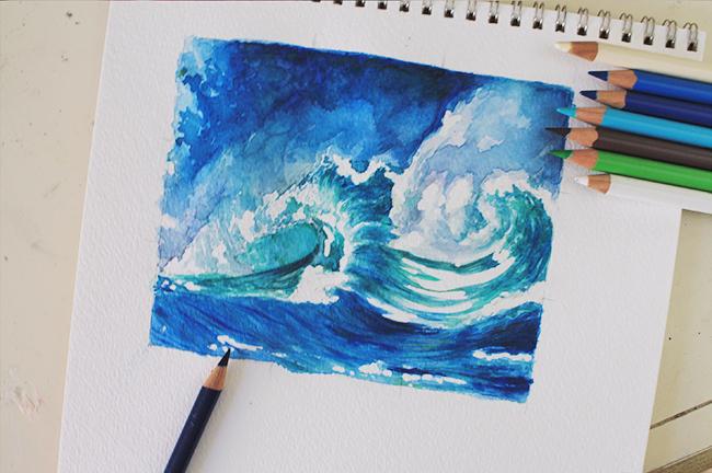 color pencils crashing waves wip
