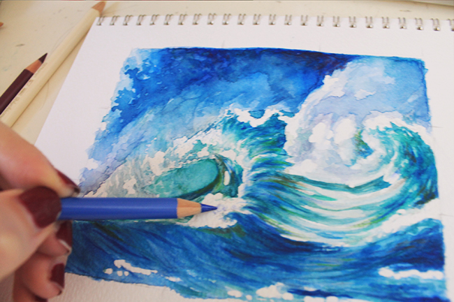 color pencil crashing waves wip
