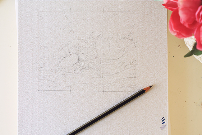 crashing waves pencil outline
