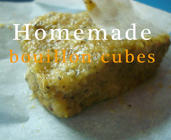 Homemade bouillon cube in wrapper