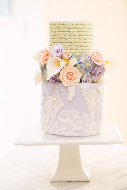 Pastel Floral Cake with Brush Embroidery