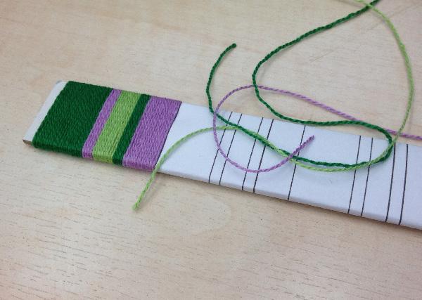 fibonacci stripe yarn wrapping