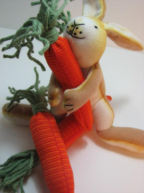stuffed rabbit with stuffed handmade carrots