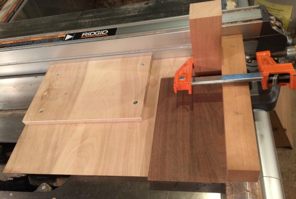 Cutting miters on walnut board