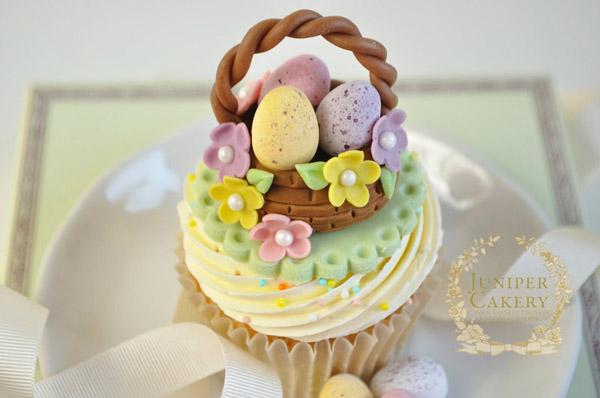 Easter egg basket fondant cupcake topper