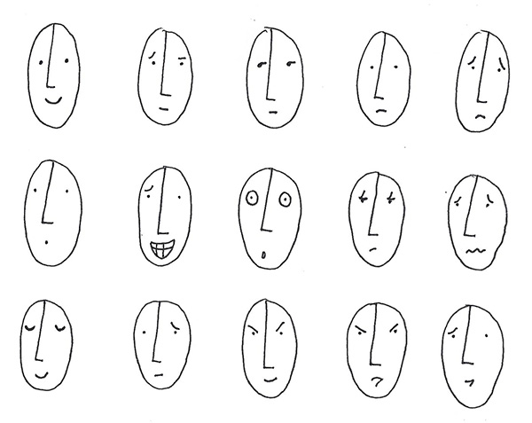 Test out different emotions on a page of blank faces