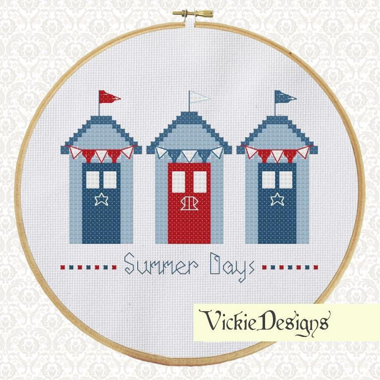 3 blue beach huts cross stitch pattern