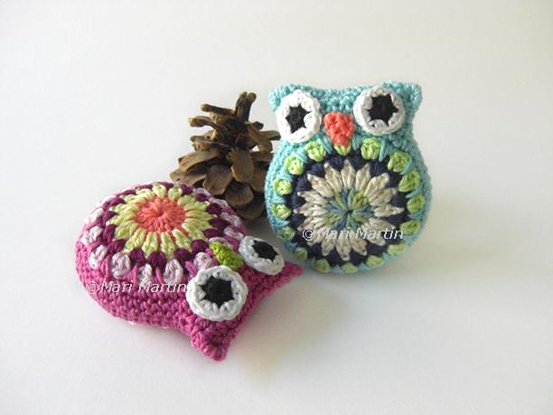 Crochet owl amigurumi pincushion
