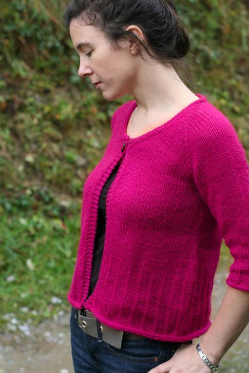 Lovely maroon three-quarter length cardigan