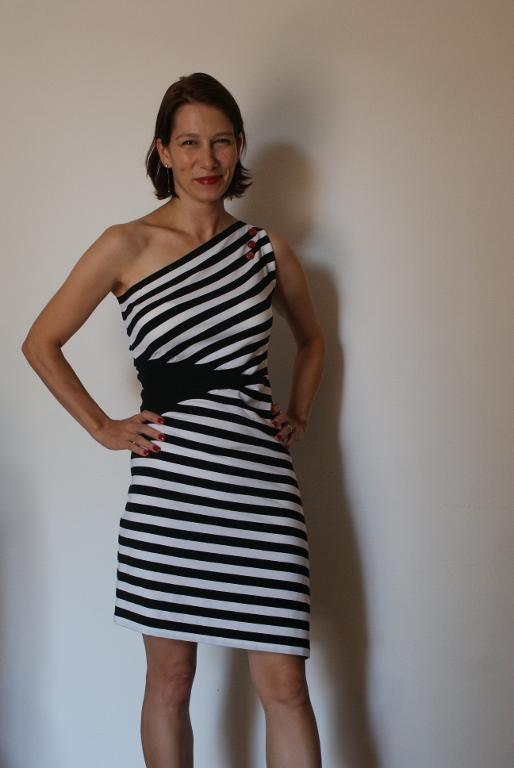 dress in navy and white stripes