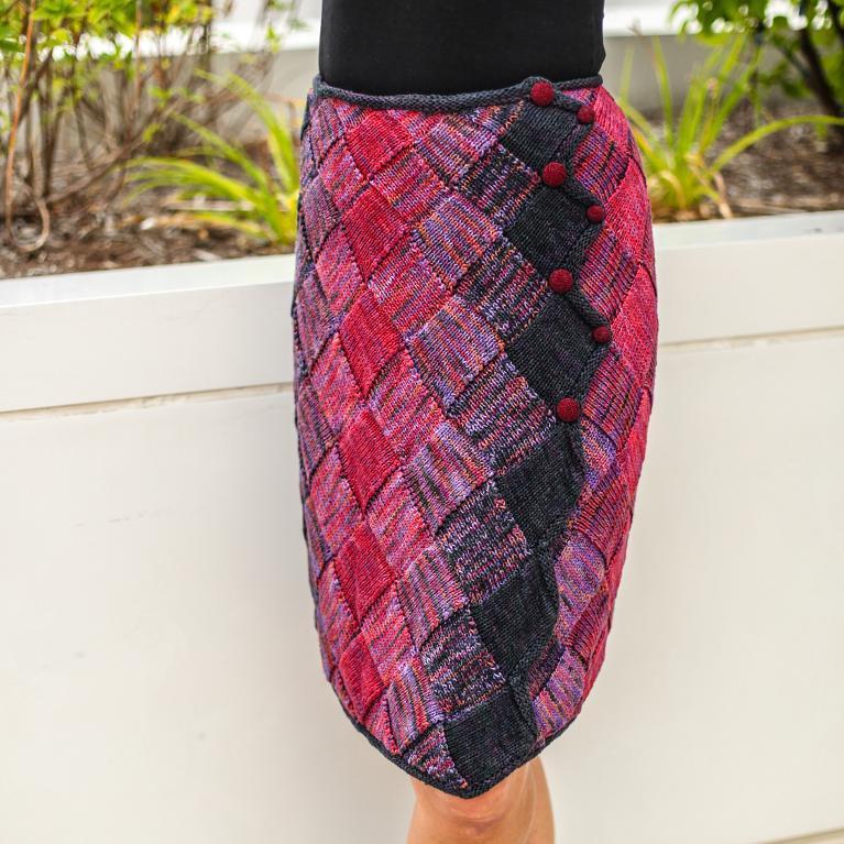 Knit entrelac wrap skirt