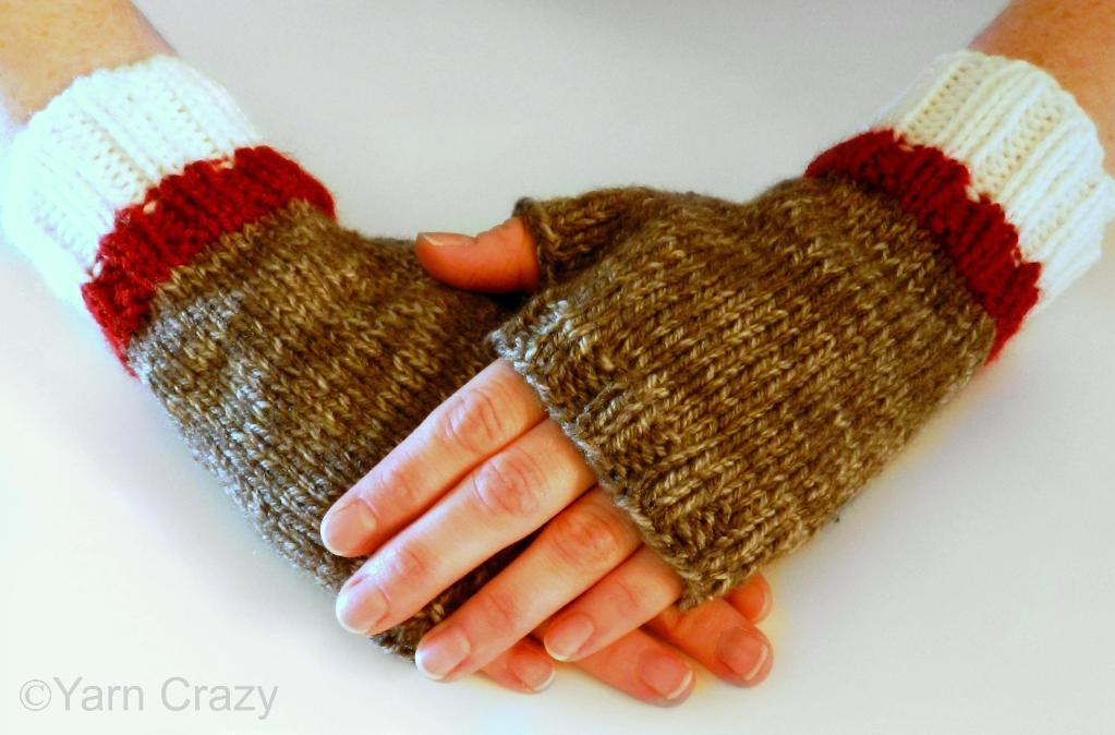 Knitted sock monkey fingerless mittens